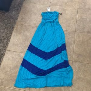 Forever 21 Blue Strapless Maxi Dress size medium